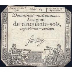 Assignat 42a_v1 - 50 sols - 23 mai 1793 - Série 19 - Filigrane royal - Variété - Etat : TB