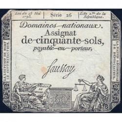 Assignat 42a_v1 - 50 sols - 23 mai 1793 - Série 26 - Filigrane royal - Variété - Etat : TB