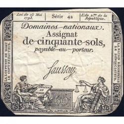 Assignat 42b - 50 sols - 23 mai 1793 - Série 42 - Filigrane républicain - Etat : TB-