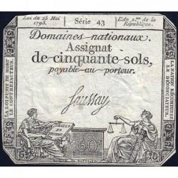 Assignat 42b - 50 sols - 23 mai 1793 - Série 43 - Filigrane républicain - Etat : TB