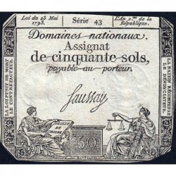 Assignat 42b - 50 sols - 23 mai 1793 - Série 43 - Filigrane républicain - Etat : TB+