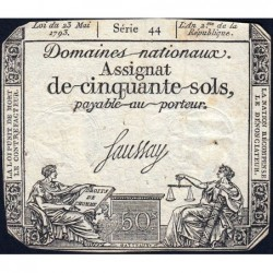 Assignat 42b - 50 sols - 23 mai 1793 - Série 44 - Filigrane républicain - Etat : TB