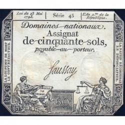 Assignat 42b - 50 sols - 23 mai 1793 - Série 45 - Filigrane républicain - Etat : TB+