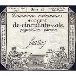 Assignat 42b - 50 sols - 23 mai 1793 - Série 46 - Filigrane républicain - Etat : TTB