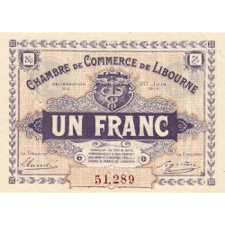 Libourne - Pirot 72-25 - 1 franc - Cinquième série - 20/06/1918 - Etat : SUP+