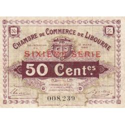 Libourne - Pirot 72-29 - 50 centimes - Sixième série - 12/03/1920 - Etat : SUP+