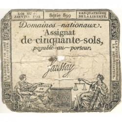 Assignat 26a_v2a - 50 sols - 23 mai 1793 - Série 899 - Variété - Etat : AB