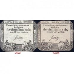 Assignat 26f-01 (faux) + 26a - 50 sols - 4 janvier 1792 - Série 434 - Etat : TB- / TTB