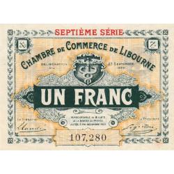 Libourne - Pirot 72-33 - 1 franc - Septième série - 23/09/1920 - Etat : SUP+