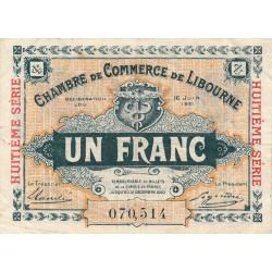 Libourne - Pirot 72-36 - 1 franc - Huitième série - 16/06/1921 - Etat : TTB-