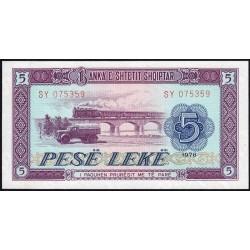 Albanie - Pick 42a - 5 lekë - Série SY - 1976 - Etat : NEUF