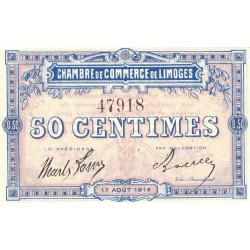 Limoges - Pirot 73-1b - 50 centimes - Sans série - 17/08/1914 - Etat : SPL