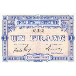 Limoges - Pirot 73-3a - 1 franc - Sans série - 17/08/1914 - Etat : SPL