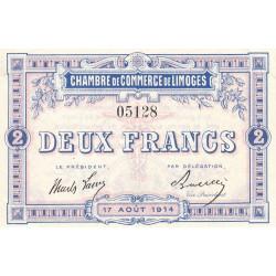 Limoges - Pirot 73-5a - 2 francs - Sans série - 17/08/1914 - Etat : SPL