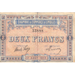 Limoges - Pirot 73-5a - 2 francs - 1914 - Etat : TB