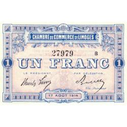 Limoges - Pirot 73-7a - 1 franc - Série B - 17/08/1914 - Etat : SPL