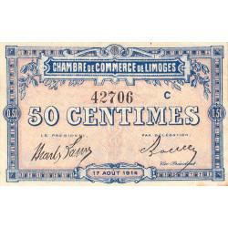 Limoges - Pirot 73-8b - 50 centimes - Série C - 17/08/1914 - Etat : TTB