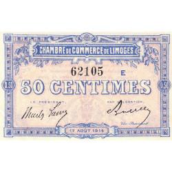 Limoges - Pirot 73-8a - 50 centimes - Série E - 17/08/1914 - Etat : SPL