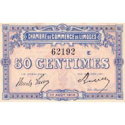 Limoges - Pirot 73-8a - 50 centimes - Série E - 17/08/1914 - Etat : SUP+