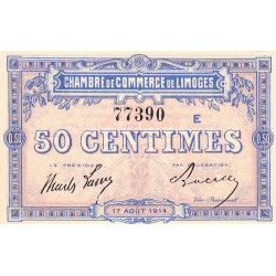 Limoges - Pirot 73-8a - 50 centimes - Série E - 17/08/1914 - Etat : NEUF