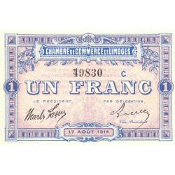 Limoges - Pirot 73-10b - Série C - 1 franc - 1914 - Etat : SPL+