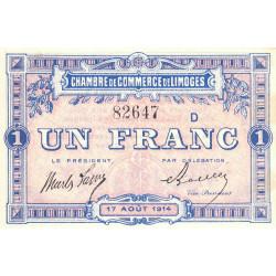 Limoges - Pirot 73-10b - Série D - 1 franc - 1914 - Etat : SUP