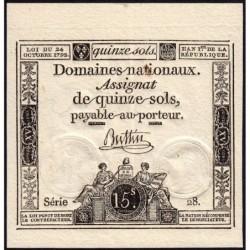 Assignat 35a - 15 sols - 24 octobre 1792 - Série 28 - Etat : SUP+