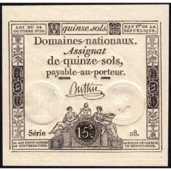 Assignat 35a - 15 sols - 24 octobre 1792 - Série 28 - Etat : SPL