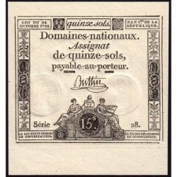 Assignat 35a - 15 sols - 24 octobre 1792 - Série 28 - Etat : NEUF