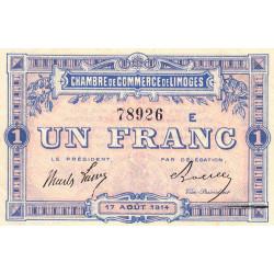 Limoges - Pirot 73-10a - 1 franc - Série E - 17/08/1914 - Etat : SUP+