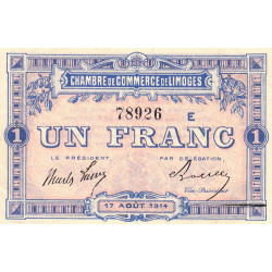 Limoges - Pirot 73-10a - Série E - 1 franc - 1914 - Etat : SUP+