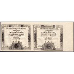 Paire assignat 35a - 15 sols - 24 octobre 1792 - Série 28 - Etat : NEUF