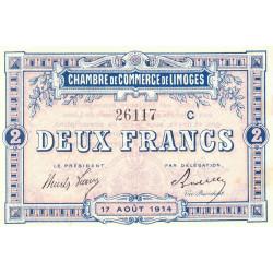 Limoges - Pirot 73-12a - Série C - 2 francs - 1914 - Etat : SUP+
