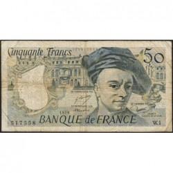 F 67-01 - 1976 - 50 francs - Quentin de la Tour - Série W.1 - Remplacement - Etat : B+
