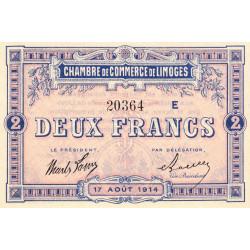 Limoges - Pirot 73-12b - 2 francs - Série E - 17/08/1914 - Etat : NEUF