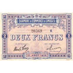 Limoges - Pirot 73-12b - 2 francs - Série E - 17/08/1914 - Etat : SUP+