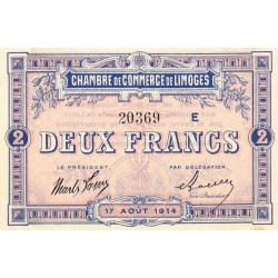 Limoges - Pirot 73-12b - Série E - 2 francs - 1914 - Etat : SUP+