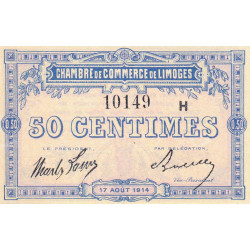 Limoges - Pirot 73-14 - Série H - 50 centimes - 1914 - Etat : SPL+