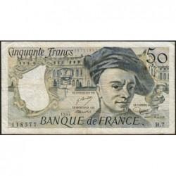F 67-02 - 1977 - 50 francs - Quentin de la Tour - Série H.7 - Etat : TB