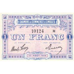 Limoges - Pirot 73-15 - 1 franc - Série H - 17/08/1914 - Etat : SPL+