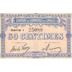 Limoges - Pirot 73-17 - Série I - 50 centimes - 1914 - Etat : SUP