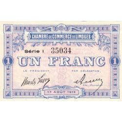 Limoges - Pirot 73-18 - 1 franc - Série I - 17/08/1914 - Etat : SPL
