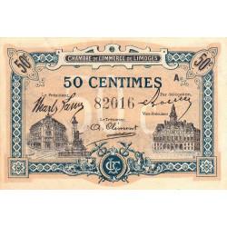 Limoges - Pirot 73-20 - 50 centimes - Série A - Sans date - Etat : SUP
