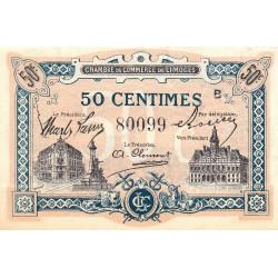 Limoges - Pirot 73-20 - 50 centimes - Série B - Sans date - Etat : SUP+