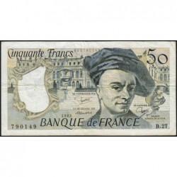 F 67-08 - 1982 - 50 francs - Quentin de la Tour - Série B.27 - Etat : TB+