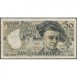 F 67-08 - 1982 - 50 francs - Quentin de la Tour - Série A.28 - Etat : TB-