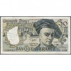 F 67-09 - 1983 - 50 francs - Quentin de la Tour - Série U.33 - Etat : TB+