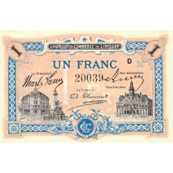 Limoges - Pirot 73-22 variété - 1 franc - Série D - Sans date - Etat : NEUF