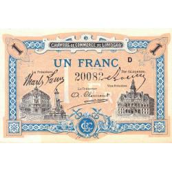 Limoges - Pirot 73-22 variété - Série D - 1 franc - Etat : SPL