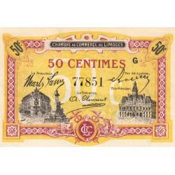 Limoges - Pirot 73-23 - 50 centimes - Série G - Sans date - Etat : SPL